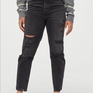H & M  Distressed Slim Mom Jeans NWT